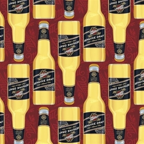 Miller Genuine Draft Beer Large Bottles On Red Cotton Fabric