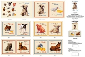 Animal Friends Who Says Woof Storybook Cotton Fabric Book Craft