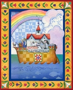 Noahs Ark Jim Shore Ark Rainbow Animals Large Cotton Fabric Panel