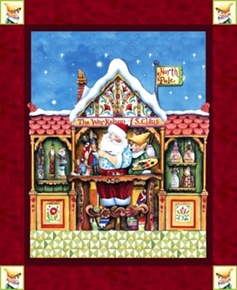 Santa Elf Santas Workshop Jim Shore Christmas Cotton Fabric Panel