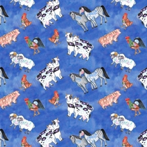 Noah's Ark Animals Jim Shore Cows Sheep Rooster Cotton Fabric