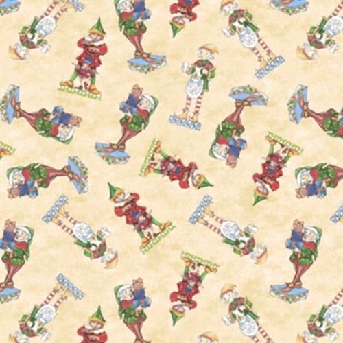 Santa Elf Christmas Holiday Elves With Toys Jim Shore Cotton Fabric