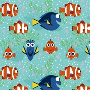 Disney Finding Dory All Smiles Girl Marlin Nemo Coral Cotton Fabric