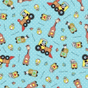 Bazooples Choo Choo Giraffe Zebra Lion Panda on Train Cotton Fabric