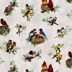 Beautiful Birds Songbird Couples Nesting on Cream Cotton Fabric