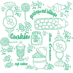 Picture of Gum Drops and Lollipops Green White Sweetshoppe Toile Cotton Fabric