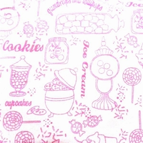 Picture of Gum Drops and Lollipops Pink White Sweetshoppe Toile Cotton Fabric