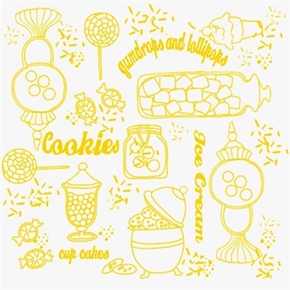 Picture of Gum Drops and Lollipops Yellow White Sweetshoppe Toile Cotton Fabric