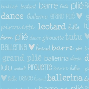 Tutu Cute Ballerina Ballet Pirouette Dance Lingo Blue Cotton Fabric