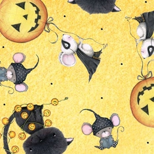 Picture of Charmed Halloween Mice with Pumpkin Balloons Yellow Cotton Fabric