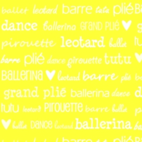 Tutu Cute Ballerina Ballet Pirouette Dance Lingo Yellow Cotton Fabric