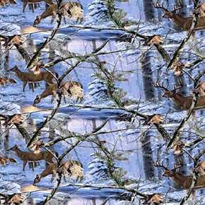 Realtree Deer At Dusk Doe And Buck In The Snowy Woods Cotton Fabric