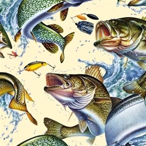 Cotton pillow panel animal fabric realtree hunting for Bass fishing yard sale