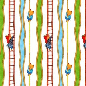 Picture of Busytown To The Rescue Fire Ladder and Pole Stripe Cotton Fabric