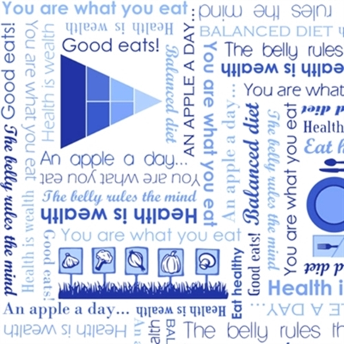 Super Foods Health Words Apple a Day Blue Cotton Fabric