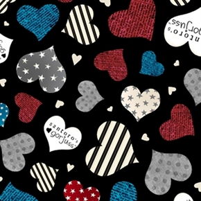 Simply Gorjuss Hearts With Stars And Stripes Black Cotton Fabric