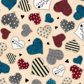 Simply Gorjuss Hearts With Stars And Stripes Cream Cotton Fabric
