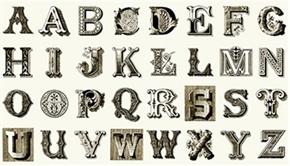 Letter Stitch Large Antique Typography Cream 24X44 Fabric Panel