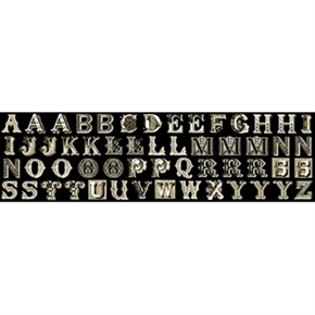 Letter Stitch Small Antique Typography Black 24x44 Fabric Panel