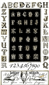 Letter Stitch Antique Typography Alphabet 24X44 Cotton Fabric Panel