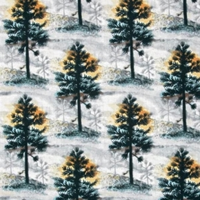Native Pine Large Pine Trees In The Snow Cotton Fabric