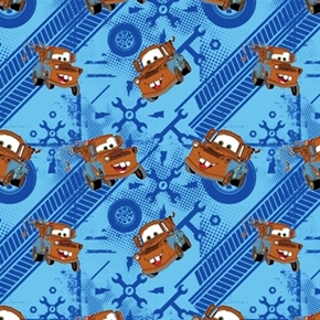 Disney Cars Tow Mater On Blue Car Tracks Tools Cotton Fabric