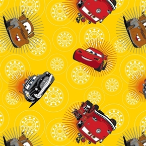 Disney Cars Lightning Mcqueen Mater Wheels Yellow Cotton Fabric
