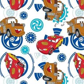 Disney Pixar Cars Mcqueen And Mater Blue Gears On White Cotton Fabric