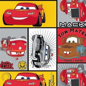 Disney Pixar Cars Mcqueen Character Block Mack Sheriff Cotton Fabric