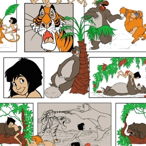 Disney The Jungle Book Characters In Blocks White Cotton Fabric