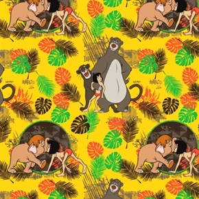Disney The Jungle Book Friends In Gold Mowgli Baloo Cotton Fabric