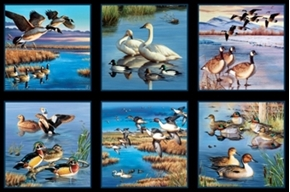 Waterfowl Mallard Ducks Geese 24X44 Large Cotton Fabric Panel