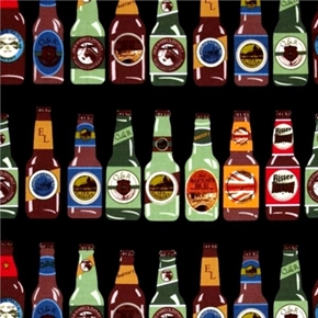 Picture of Man Cave IV Brewer's Ale Imported Beer Bottles Black Cotton Fabric