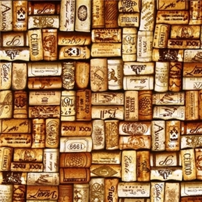 Wine Connoisseur Vintage Corks Wine Cork Gold Cotton Fabric