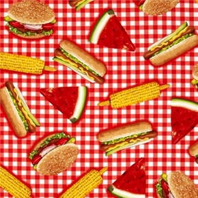 Kiss The Cook Hamburger Corn Sandwich Watermelon Picnic Cotton Fabric