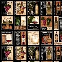 Picture of Over a Barrel Varieties of Wine and Bottle Blocks 24x22 Cotton Fabric
