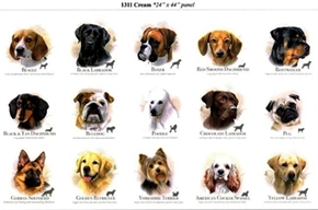 Dog Breeds Dogs Name And Personality 24X44 Large Cotton Fabric Panel