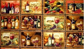 Picture of Wine Bottle and Barrel Vineyard Block 24x44 Large Cotton Fabric Panel