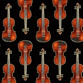 Picture of In Tune Metallic Gold Thread Violins Music Violin Black Cotton Fabric