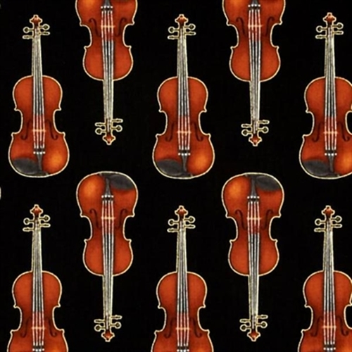 In Tune Metallic Gold Thread Violins Music Violin Black Cotton Fabric