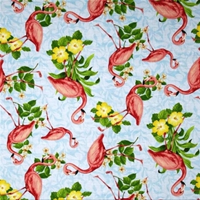 Seaside Wonders Pink Flamingo Birds With Flowers Blue Cotton Fabric