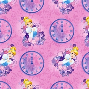 Disney Cinderella Clocks Elegant Princess Pink Cotton Fabric