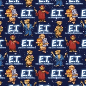 Packed Et With Animals Extra Terrestrial Alien Movie Cotton Fabric