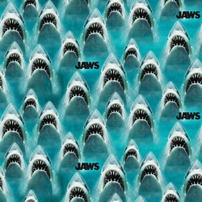 Classic Jaws Great White Shark Movie Universal Studios Cotton Fabric