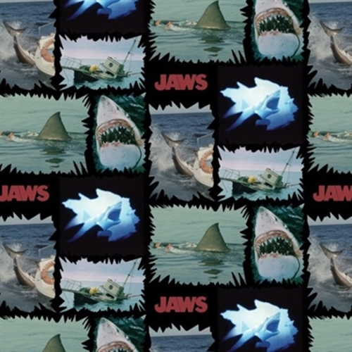 Jaws Shark Torn Patches Movie Scenes Universal Studios Cotton Fabric