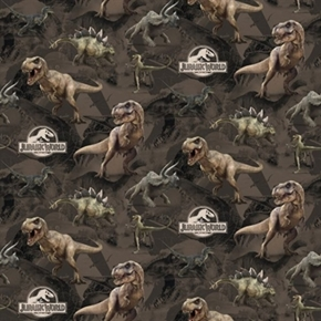 Picture of Dinosaur Terrain Jurassic World Large Dinosaurs Movie Cotton Fabric