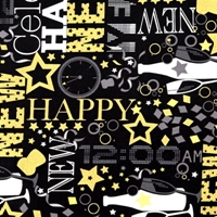 Picture of Happy New Year Celebrate Champagne Metallic Gold Cotton Fabric