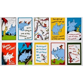 Picture of Horton Hears A Who! Dr. Seuss Blocks 24x44 Large Cotton Fabric Panel