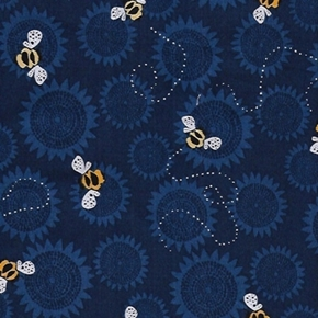 Picture of Sunflowers and Bumble Bees Sunflower Dark Blue Toile Cotton Fabric
