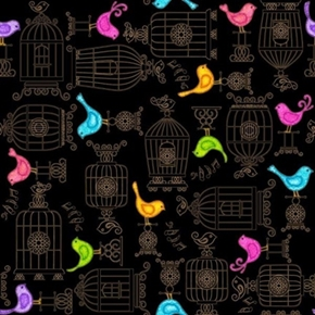 Picture of A Tail of Two Kitties Bird Colorful Birds and Birdcages Cotton Fabric